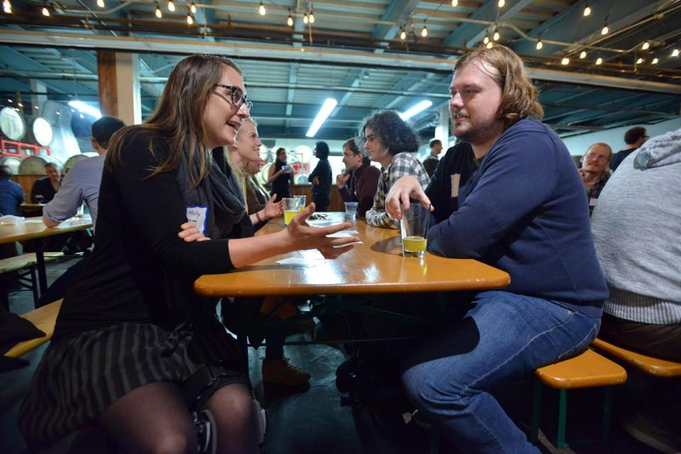 Molly Lunn and Evan Hatten, both of Somerville, at the Skip the Small Talk event at Aeronaut Brewing Company.
